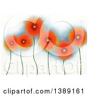Clipart Of A Background Of Painted Orange Poppies Royalty Free Illustration by Prawny