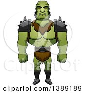 Clipart Of A Buff Male Orc Royalty Free Vector Illustration