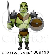 Clipart Of A Buff Male Orc Holding A Sword And Shield Royalty Free Vector Illustration by Cory Thoman