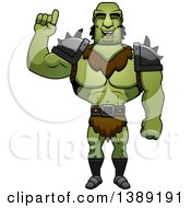 Clipart Of A Buff Male Orc Holding Up A Finger Royalty Free Vector Illustration by Cory Thoman