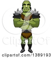 Clipart Of A Buff Male Orc With Folded Arms Royalty Free Vector Illustration by Cory Thoman