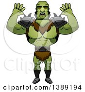 Clipart Of A Scared Buff Male Orc Royalty Free Vector Illustration by Cory Thoman