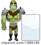 Clipart Of A Buff Male Orc With A Blank Sign Royalty Free Vector Illustration by Cory Thoman