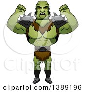 Clipart Of A Mad Buff Male Orc Waving His Fists Royalty Free Vector Illustration by Cory Thoman