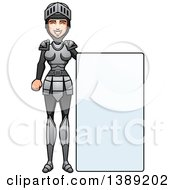 Clipart Of A Female Knight By A Blank Sign Royalty Free Vector Illustration by Cory Thoman