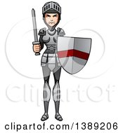 Clipart Of A Female Knight Holding A Sword And Shield Royalty Free Vector Illustration by Cory Thoman