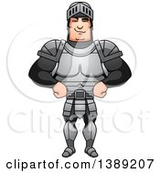Clipart Of A Sly Buff Male Knight With Hands On His Hips Royalty Free Vector Illustration