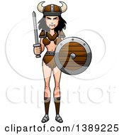 Clipart Of A Barbarian Woman Holding A Sword And Shield Royalty Free Vector Illustration by Cory Thoman