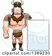 Clipart Of A Buff Barbarian Man By A Blank Sign Royalty Free Vector Illustration by Cory Thoman