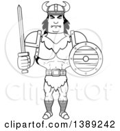 Clipart Of A Black And White Lineart Buff Barbarian Man Holding A Sword And Shield Royalty Free Vector Illustration by Cory Thoman