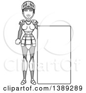 Clipart Of A Black And White Lineart Female Knight By A Blank Sign Royalty Free Vector Illustration by Cory Thoman