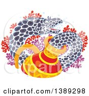 Clipart Of A Moray Eel Emerging From A Sunken Vase Over Red And Purple Corals Royalty Free Vector Illustration by Alex Bannykh