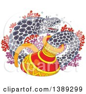 Clipart Of A Cartoon Moray Eel Emerging From A Sunken Vase Over Corals Royalty Free Vector Illustration by Alex Bannykh