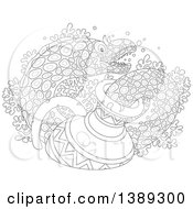 Clipart Of A Black And White Lineart Moray Eel Emerging From A Sunken Vase Over Corals Royalty Free Vector Illustration by Alex Bannykh