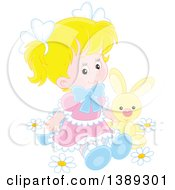 Clipart Of A Blond Caucasian Girl Sitting With A Stuffed Bunny Rabbit In Spring Flowers Royalty Free Vector Illustration