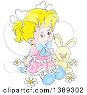 Clipart Of A Cartoon Blond White Girl Sitting With A Stuffed Bunny Rabbit In Spring Flowers Royalty Free Vector Illustration