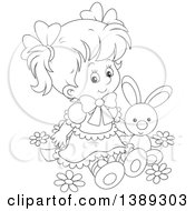 Clipart Of A Cartoon Black And White Lineart Girl Sitting With A Stuffed Bunny Rabbit In Spring Flowers Royalty Free Vector Illustration