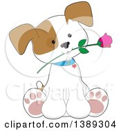 Cartoon Cute Puppy Dog Sitting With A Rose In His Mouth
