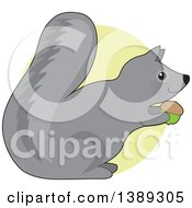 Cartoon Happy Gray Squirrel Holding An Acorn Over A Green Circle
