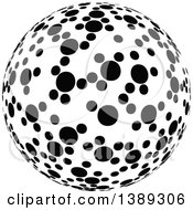 Clipart Of A Black And White Dotted Globe Sphere Orb Or Planet Royalty Free Vector Illustration
