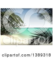 Clipart Of A Background Of A Tropical Beach And Palms Royalty Free Vector Illustration by dero