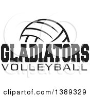 Clipart Of A Black And White Ball With GLADIATORS VOLLEYBALL Text Royalty Free Vector Illustration
