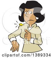 Clipart Of A Cartoon Angry Black Business Woman With A Chip On Her Shoulder Royalty Free Vector Illustration