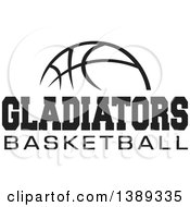 Clipart Of A Black And White Ball With GLADIATORS BASKETBALL Text Royalty Free Vector Illustration