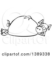 Cartoon Black And White Lineart Pig Laying On His Side