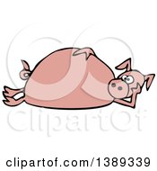 Clipart Of A Cartoon Pink Pig Laying On His Side Royalty Free Vector Illustration by djart