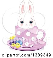 Clipart Of A Cute Blue Eyed White Bunny Rabbit In A Purple Tea Cup Royalty Free Vector Illustration