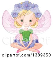 Clipart Of A Blond Caucasian Garden Fairy Sitting Royalty Free Vector Illustration