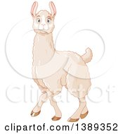 Clipart Of A Cute Walking White Llama With Blue Eyes Royalty Free Vector Illustration by Pushkin