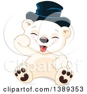 Clipart Of A Cute Baby Polar Bear Cub Wearing A Hat Sitting And Laughing Royalty Free Vector Illustration