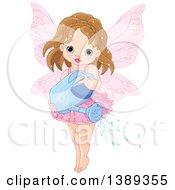 Brunette Caucasian Garden Fairy Girl Using A Watering Can