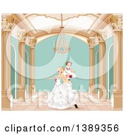 Clipart Of A Beautiful Fairy Tale Princess Dancing With A Prince In A Ball Room Royalty Free Vector Illustration by Pushkin