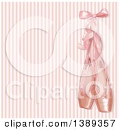 Clipart Of A Background Of Pink Ballerina Slippers Over Stripes Royalty Free Vector Illustration