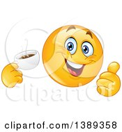 Clipart Of A Cartoon Yellow Smiley Face Emoji Emoticon Holding A Cup Of Coffee And Giving A Thumb Up Royalty Free Vector Illustration
