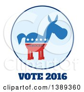 Clipart Of A Label Of A Political Democratic Donkey In Red White And Blue With Text And Stars Over Vote 2016 Text Royalty Free Vector Illustration