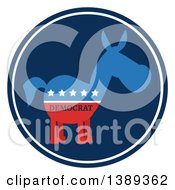 Clipart Of A Round Blue Label Of A Political Democratic Donkey In Red White And Blue With Text And Stars Royalty Free Vector Illustration