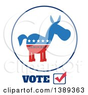Clipart Of A Label Of A Political Democratic Donkey In Red White And Blue With Text And Stars Over Vote Text Royalty Free Vector Illustration