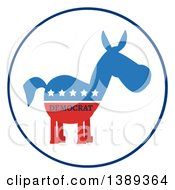 Clipart Of A Label Of A Political Democratic Donkey In Red White And Blue With Text And Stars Royalty Free Vector Illustration