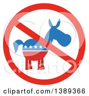 Clipart Of A Restricted Symbol Over A Political Democratic Donkey In Red White And Blue With Stars Royalty Free Vector Illustration