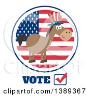 Clipart Of A Flat Design Political Democratic Donkey Wearing A Patriotic Top Hat Over An American Flag Label And Vote Text Royalty Free Vector Illustration