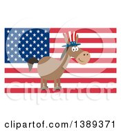 Clipart Of A Flat Design Political Democratic Donkey Wearing A Patriotic Top Hat Over An American Flag Royalty Free Vector Illustration