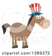 Clipart Of A Flat Design Political Democratic Donkey Wearing A Patriotic Top Hat Royalty Free Vector Illustration