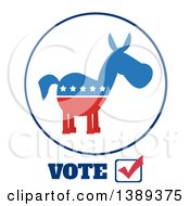 Clipart Of A Label Of A Political Democratic Donkey In Red White And Blue With Vote Text And Stars Royalty Free Vector Illustration
