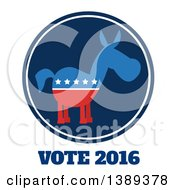 Clipart Of A Round Dark Blue Label Of A Political Democratic Donkey In Red White And Blue With Vote 2016 Text And Stars Royalty Free Vector Illustration