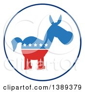 Clipart Of A Round White Label Of A Political Democratic Donkey In Red White And Blue With Stars Royalty Free Vector Illustration
