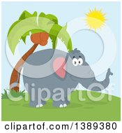 Flat Design Happy Elephant And Palm Tree On A Sunny Day